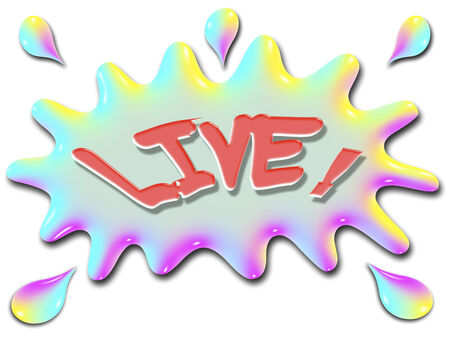 The word Live is shown on top of a stylized splash of water, very colorful, and rainbow like.