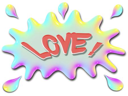 単語愛は水、非常にカラフルなと虹のような様式化されたスプラッシュの上に示されています。 写真素材