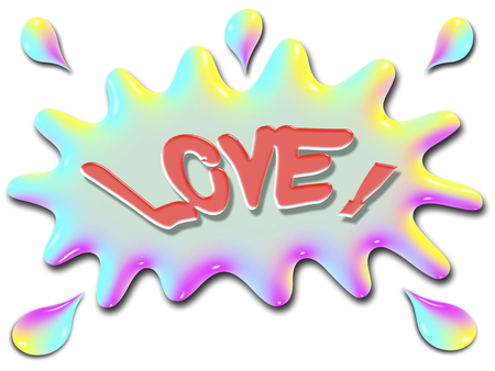 The word Love is shown on top of a stylized splash of water, very colorful, and rainbow like.