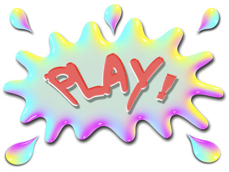 言葉遊びが水の非常にカラフルな様式化されたスプラッシュとのような虹の上に表示されます。