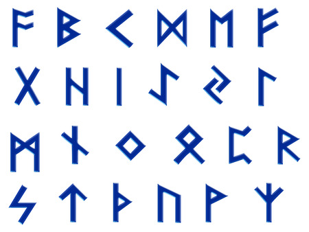 futhark: Set of runes, the old germanic futhark on white and finished in a slightly raised blue, spaced to be easily cut out and isolated. Stock Photo