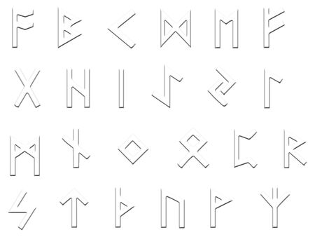 futhark: Set of runes, the old germanic futhark on white and finished to look embossed, spaced to be easily cut out and isolated.