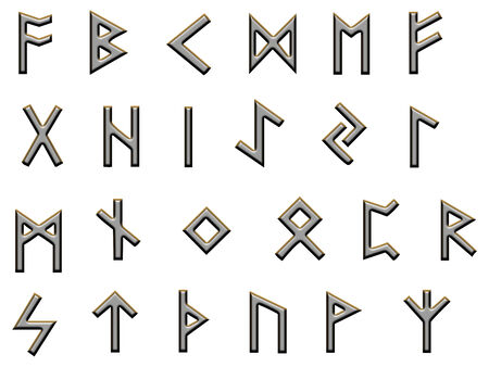 futhark: Set of runes, the old germanic futhark on white and finished to look metallic, spaced to be easily cut out and isolated.