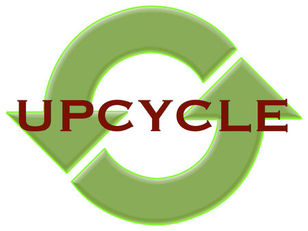 reusing: A symbol to encourage upcycling, a way of reusing things in a new way. Stock Photo