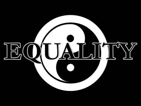 De traditionele yin yang symbool in zwart-wit met het woord gelijkheid bovenop de top. Stockfoto