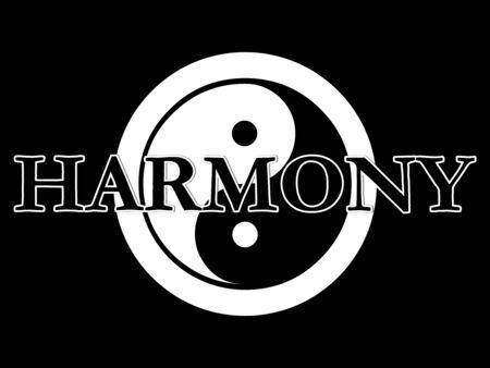 De traditionele yin yang symbool in zwart-wit met het woord harmonie bovenop de top. Stockfoto