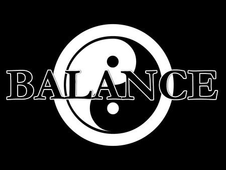 De traditionele yin yang symbool in zwart-wit met het woord balans bovenop de top.