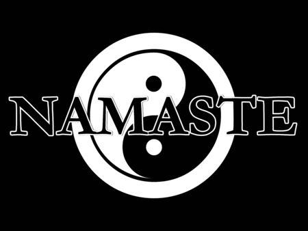 De traditionele yin yang symbool in zwart-wit met het woord Namasté bovenop de top.