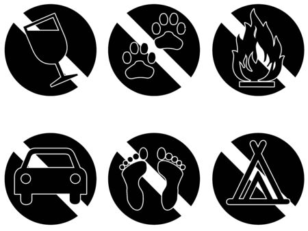 not permitted: Six symbols showing things that are banned  Stock Photo