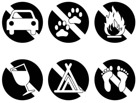 not permitted: Six symbols showing things that are banned
