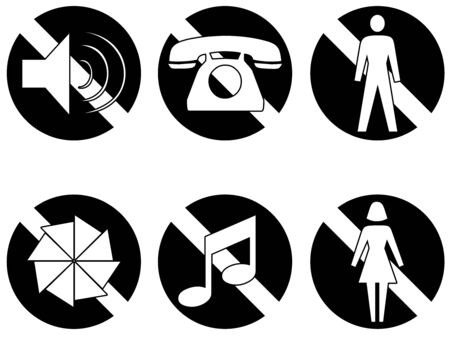 Six symbols showing things that are banned