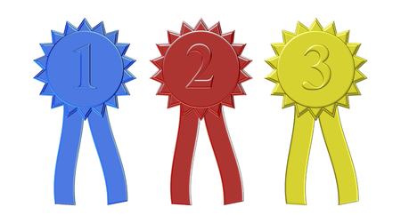 Illustration of first, second, and third place award ribbons in playful colors. Stock Photo