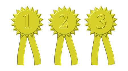 Illustration of first, second, and third place award ribbons in golden color.