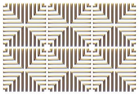 Illustration of repeating square, tiled and spaced creating optical illusion.