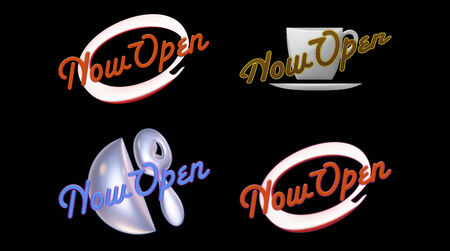 four different Now Open signs on black.