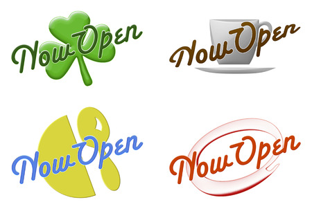 illustration of four different Now Open signs on white .