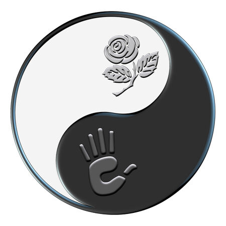 coexist: The classic yin yang symbol with a rose and human hand symbolizing coexisting with nature. Stock Photo