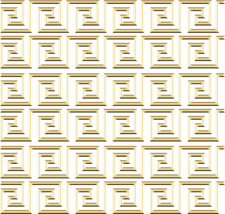 Continuous lines turning back on themselves, repeating., gold on white finish Imagens