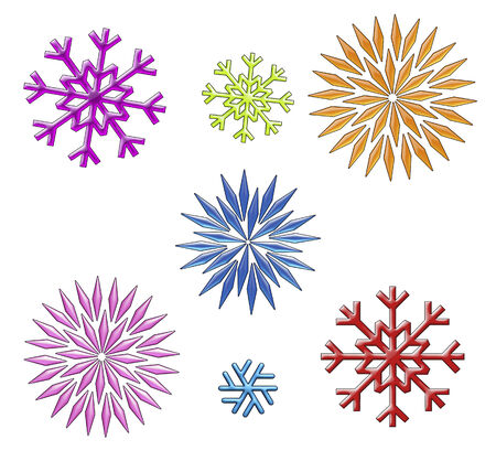 A collection of various size , color, and shape snowflakes on white.