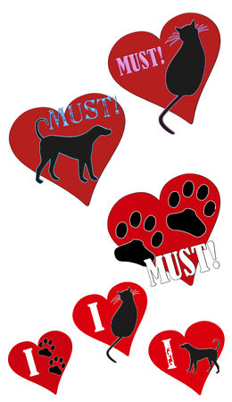must: Fun clip art illustrations of Must Love Animals and I love animals concept. Stock Photo