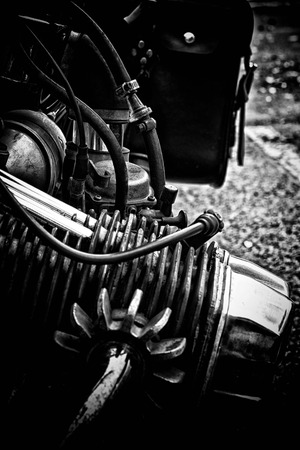 rendition: A black and white rendition of a boxer style motorcycle engine.