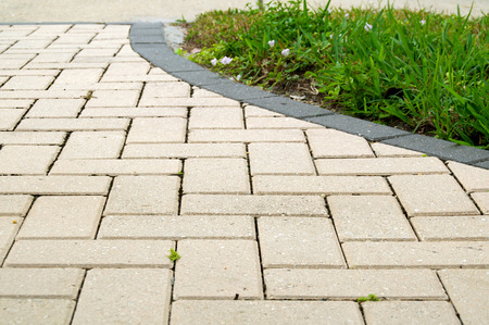 lawn grass: Low angle view of  light colored rectangular brick pavers in alternating pattern edged with dark grey pavers and grass.