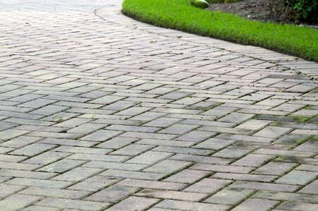 pavers: Low angle view of  light colored rectangular brick pavers in alternating pattern edged with grass. Stock Photo