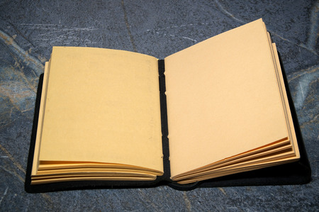 An artist sketchbook or writer notebook is open on soapstone table with both facing pages blank. Stock Photo