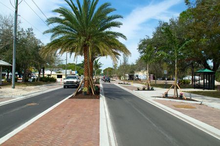 median: View of Old 41 Road in Bonita Springs Florida from the median, showing single lane traffic and palm trees.