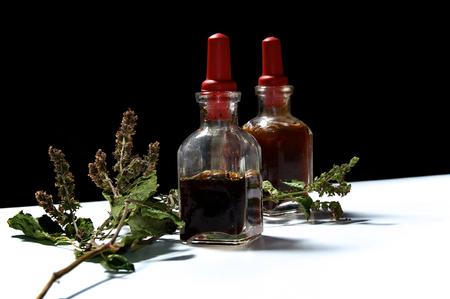 goteros: Dos botellas cuentagotas pequeñas con aceites esenciales de extractos herbarios y rama de hojas secas de pachulí y flowerss. Los aceites son pachulí y romero.