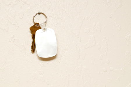 fob: A blank white rubber key fob on keyring with a single brass key hanging on wall. Copy space on fob and wall.