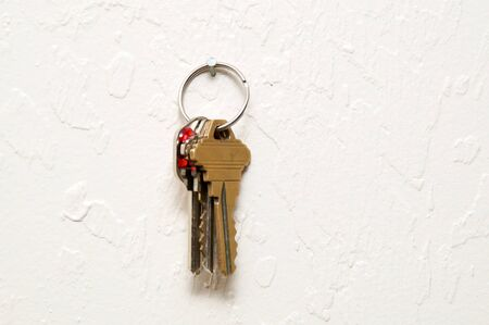 keys isolated: A keyring with three keys  hanging on nail on wall.
