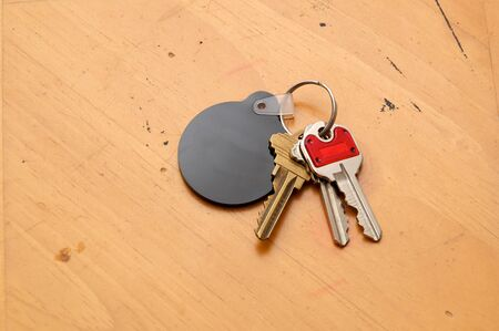 key fob: Looking down towards a keyring with assorted keys and round, black blank fob for text.