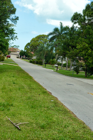 angled view: Angled view looking down side street in Bonita Shores, a section of Naples in Florida. Stock Photo