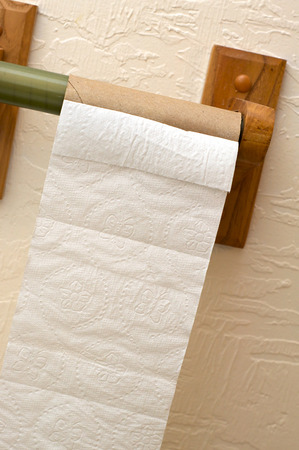 inconvenient: Angled view of end of toilet paper roll showing cardboard roll on wooden holder.