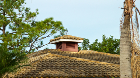 roof made of half round tiles with cupola and weather vane in south west florida.