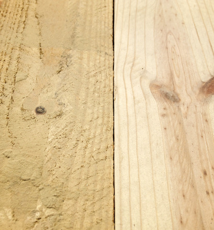 Smooth sanded pine board beside rough cut unfinished wood comparison side by side.