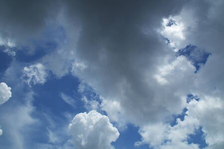 Beautiful thick and puffy clouds fill a vibrant blue sky in southwest florida at noontime in summer.