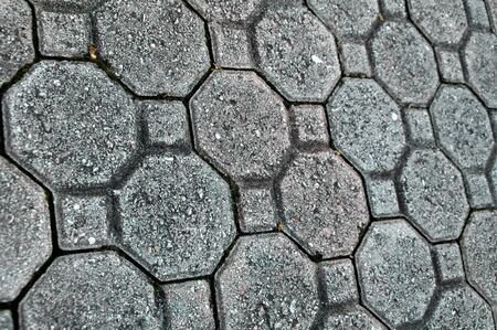 Looking down at many cement driveway pavers, or bricks that have separated, with weeds. Banco de Imagens