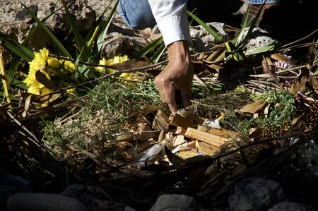 A mayan priest is placing lit candles and wood on ceremonial fire ritual, flowers and herbs can be seen.