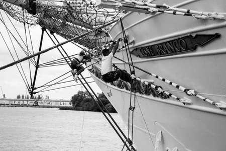 Sailors rigging the ship during a tall ship race in Szczecin, Poland