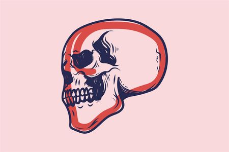 skull sketch on pink background Illustration