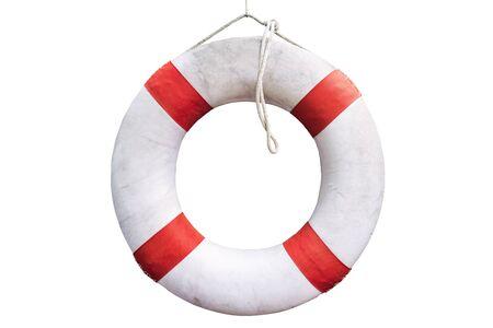 salvavidas: Flotador salvavidas blanco sobre fondo blanco