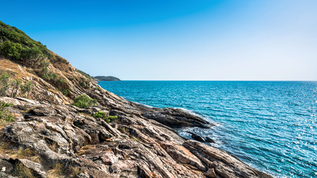 Stone shores coast  and Stone cliff be high and steep on Samet Island, Rayong, Thailand.