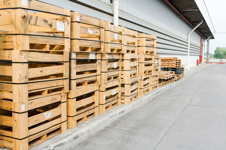 Wood Pallet Placed Endways by the wall. 写真素材
