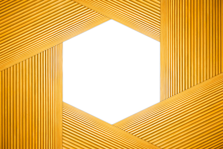Stacked Hexagon Frame Light Brown Wooden and Aperture of the camera Isolated on white background.