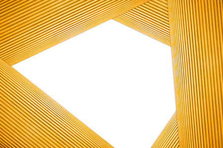 Stacked Hexagon Frame Light Brown Wooden Isolated on white background.
