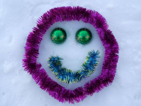 simplicity: Abstract smile for New Year on to snow