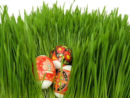 Easter eggs decorated Ukrainian folk figure in the grass on a white background Stock Photo