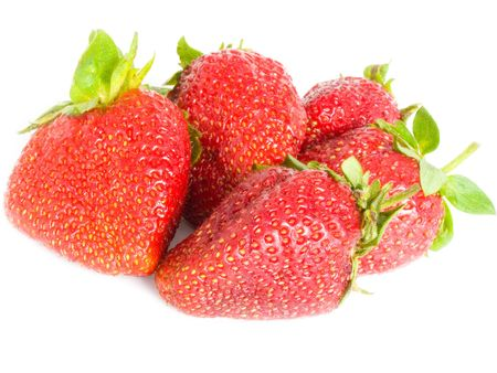 Large, ripe strawberries on a white background